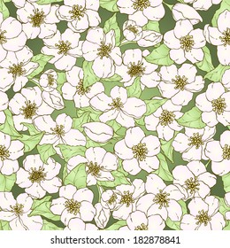 Seamless pattern with hand drawn cherry blossom flowers.