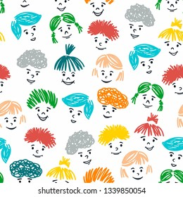 Seamless pattern with hand drawn children faces on white background. Creative vector illustration of joy and happines.