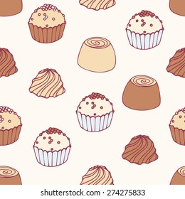 Seamless pattern with hand drawn chocolate candies. Sweets vector background. Food illustration