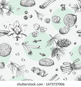 Seamless pattern with hand drawn Christmas winter spices pattern. Traditionally used in made desserts, mulled wine, cookies. Design for templates menu, recipes, greeting cards. Vector illustration
