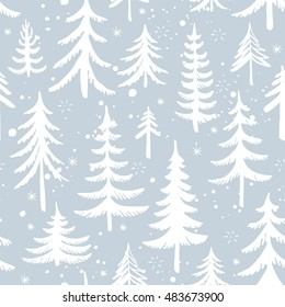 Seamless pattern of hand drawn Christmas tree. Winter forest background. Vector illustration.