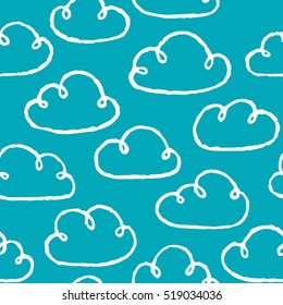 Seamless pattern with hand drawn clouds