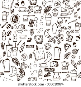 Seamless pattern with hand drawn coffee elements: seeds, beans, cups, buns, milk, water, cinnamon. Vector illustration. White background