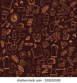 Seamless pattern with hand drawn coffee elements: seeds, beans, cups, buns, milk, water, cinnamon. Vector illustration. Brown background