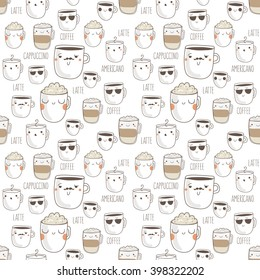 Seamless pattern of hand drawn coffee icons.Vector illustration.