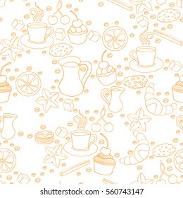 Seamless pattern of hand drawn coffee and cookie elements