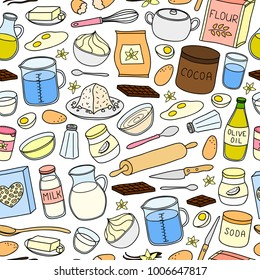 Seamless pattern with hand drawn colored cooking, baking ingredients.