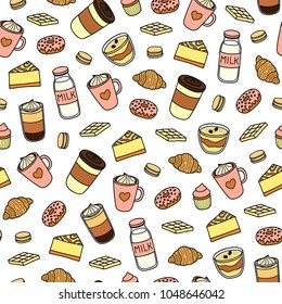Seamless pattern with hand drawn colored coffee, milk, sweets and desserts.