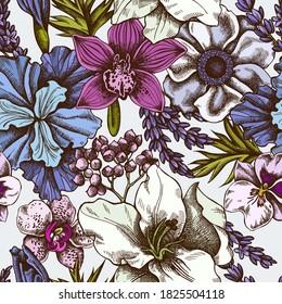 Seamless pattern with hand drawn colored anemone, lavender, rosemary everlasting, phalaenopsis, lily, iris