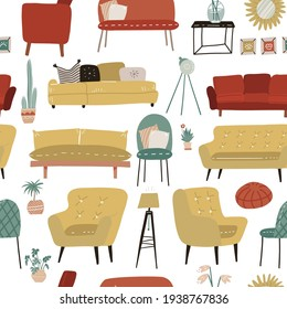 Seamless pattern with hand drawn colored furniture. Theme of home decoration, interior. Vector flat hand dtawn illustration.