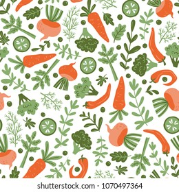 Seamless pattern with hand drawn colorful doodle vegetables. Vegetarian meal. Vegetable repeated background. Healthy restaurant  menu.