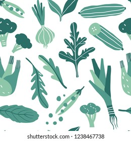 Seamless pattern with hand drawn colorful doodle green vegetables and herbs. Vector texture. Flat icons: onion, arugula, peas, cucumber, leek, broccoli, fennel. Vegetarian healthy food. Vegan, farm