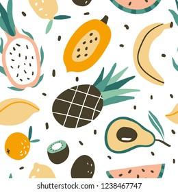 Seamless pattern with hand drawn colorful doodle tropic fruits. Vector texture. Flat icons: watermelon, mango, papaya, banana, orange, dragon fruit, kiwi, pineapple. Vegetarian healthy food. Vegan