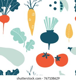 Seamless pattern with hand drawn colorful doodle vegetables. Sketch style vector set. Vegetables flat icons set: cucumber, carrot, onion, tomato.