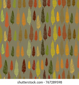 seamless pattern with hand drawn colorful trees on grey background. Trees are textured with hand made strokes