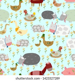 Seamless pattern of hand drawn cute cartoon farm animals as pig,little duck and mom,horse and pony,goose,chicken lays eggs,cow and calf,sheep in flower field.