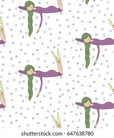 Seamless pattern of hand drawn cute sleeping girl with long hair, in night gown, on a white background with stars. Design concept for children - textile print, wallpaper, wrapping paper. Vector.