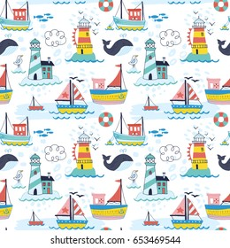 Seamless pattern with hand drawn cute boat, lighthouse and whale