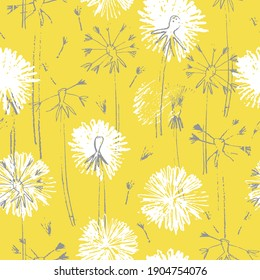 Seamless pattern with hand drawn dandelion flowers for surface design and other design projects. Trendy Illuminating Yellow and Ultimate Gray colors, yellow background