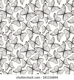Seamless pattern with hand drawn decorative butterflies. Vector illustration