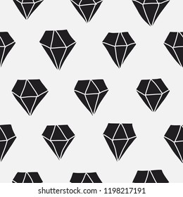 Seamless pattern of hand drawn diamonds in black and white. Cute vector illustration. Abstract background texture for print, textile, fabric, home decor, packaging, wrapping paper, web use.