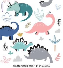 Seamless pattern with hand drawn different cute dinosaurs. Childish texture for fabric, textile, vector fill. Vector background