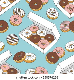 Seamless pattern with hand drawn donuts. Vector illustration, collection of confectionery. Colorful background with sketch objects and food icons. Decorative wallpaper, good for printing for cafe