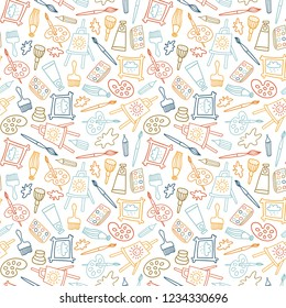 Seamless pattern in hand drawn doodle style. Line objects. Repeat background with art materials, brushes, paints and tools.  Design for web background or wrapping paper.