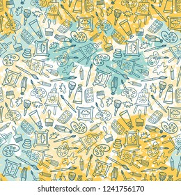 Seamless pattern in hand drawn doodle style. Line objects on the splashes of paint. Repeat background with art materials, brushes, paints and tools.  Design for web background or wrapping paper.