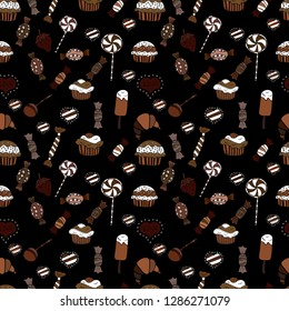 Seamless pattern with hand drawn doodle desserts: cupcakes, cake, pie, muffins. Vector illustration. Cute birthday background on black, white and brown.