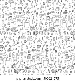 Seamless pattern Hand drawn doodle set of Brewery icons. Vector illustration set. Cartoon Craft Beer production symbols. Sketchy brewing elements collection: pub equipment, malt, hop, glass, barrel