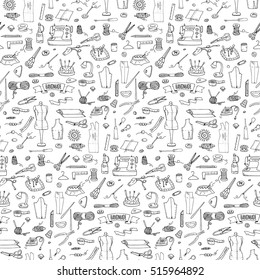 Seamless pattern hand drawn doodle Handmade icons set. Vector illustration. Sewing collection. Cartoon hand made various sketch elements: embroidery, button, needle, scissors, spool, pin, knitting