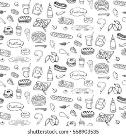 Seamless pattern Hand drawn doodle Fast food icons set. Vector illustration. Junk food elements collection. Cartoon snack various sketch symbols: soda, burger, potato,hot dog, pizza, donut, popcorn