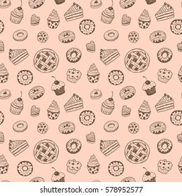 Seamless pattern with hand drawn doodle desserts: donuts, cupcakes, cake, pie, muffins
