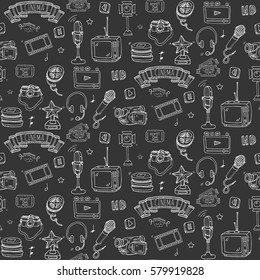 Seamless pattern hand drawn doodle Cinema set. Vector illustration. Movie making icons. Film symbols collection. Cinematography freehand elements: camera, film tape, photo camera, pizza, popcorn