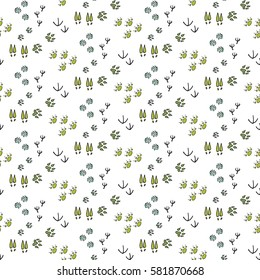 Seamless pattern with Hand drawn doodle Animals footprint icons. Set of hand drawn forest symbols, hiking, mountain climbing and camping doodle elements, vector illustration