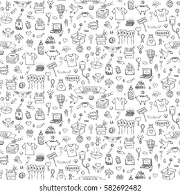 Seamless pattern Hand drawn doodle Donation icons set. Vector illustration. Charity symbols collection Cartoon donate sketch elements: blood donation, box, heart, money jar, care, help, gift, hands