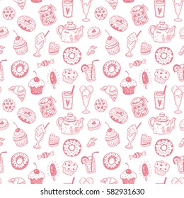 Seamless pattern with hand drawn doodle dessert