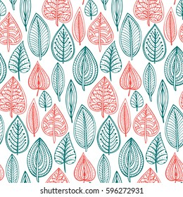Seamless pattern with hand drawn doodle ornate leaves. Vector endless natural background. The elegant illustration for fashion prints, fabric, scrapbook.