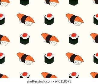 Seamless pattern of hand drawn doodle sushi and rolls isolated on white background, vector illustration.