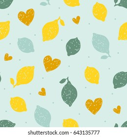 Seamless pattern with hand drawn doodle lemons. Vector illustration