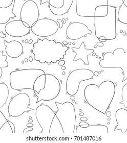 Seamless pattern with hand drawn doodle speech bubbles. Vector illustration on white background.