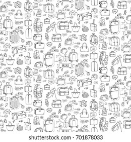 Seamless pattern hand drawn doodle Baggage icons set. Vector illustration. Different types of baggage Large small suitcase Hand luggage Backpack Carrying animals Crate Handbag Tag Sketch cartoon style