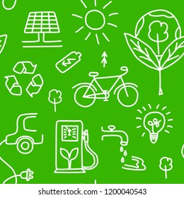 Seamless pattern of hand drawn ecology symbols with house, wind power plant, solar power plant, sun, lamp, e-car, bike, gas station, water, batery, trees and lettering. Vector illustration