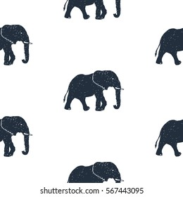 Seamless pattern with hand drawn elephant vector illustration. White background.