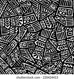 Seamless Pattern of Hand Drawn Ethnic Ornaments
