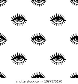 Seamless pattern with hand drawn  eye on white background. Design element for wrapping paper, textile, fabric, wallpaper.