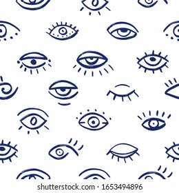 Seamless pattern of hand drawn eyes. Doodle vector illustration with various eyes. Grunge Turkish evil eyes.
