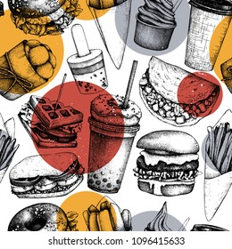 Seamless pattern with hand drawn fast food illustrations. Vintage background for restaurant, cafe or food truck menu.  Engraved style elements - burgers, ice cream, milkshake, fries, tacos drawings.