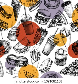 Seamless pattern with hand drawn fast food illustrations. Vintage background for restaurant, cafe or food truck menu.  Engraved style elements - burger, ice cream, milkshake, fries, pizza drawings.
